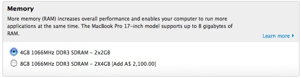 $2100 for 4GB more RAM in the new 17.